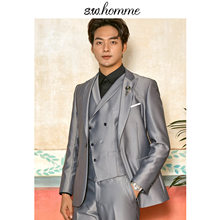 OSCN7 2019 Grey Peak Lapel Korea 3 Pieces Customize Suits Brand Clothing Slim Fit Leisure Tailor Made Mens Suit LB-WVT-0005-45(China)