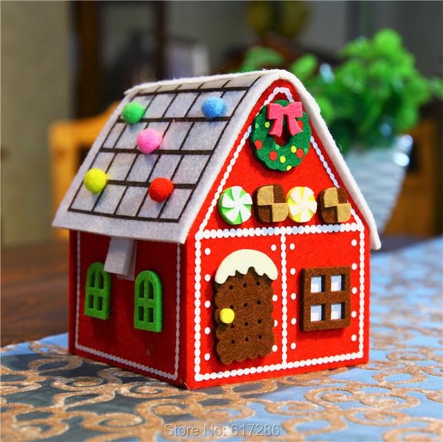 Free shipping 1pc/lot gingerbread house felt red house for Christmas ...