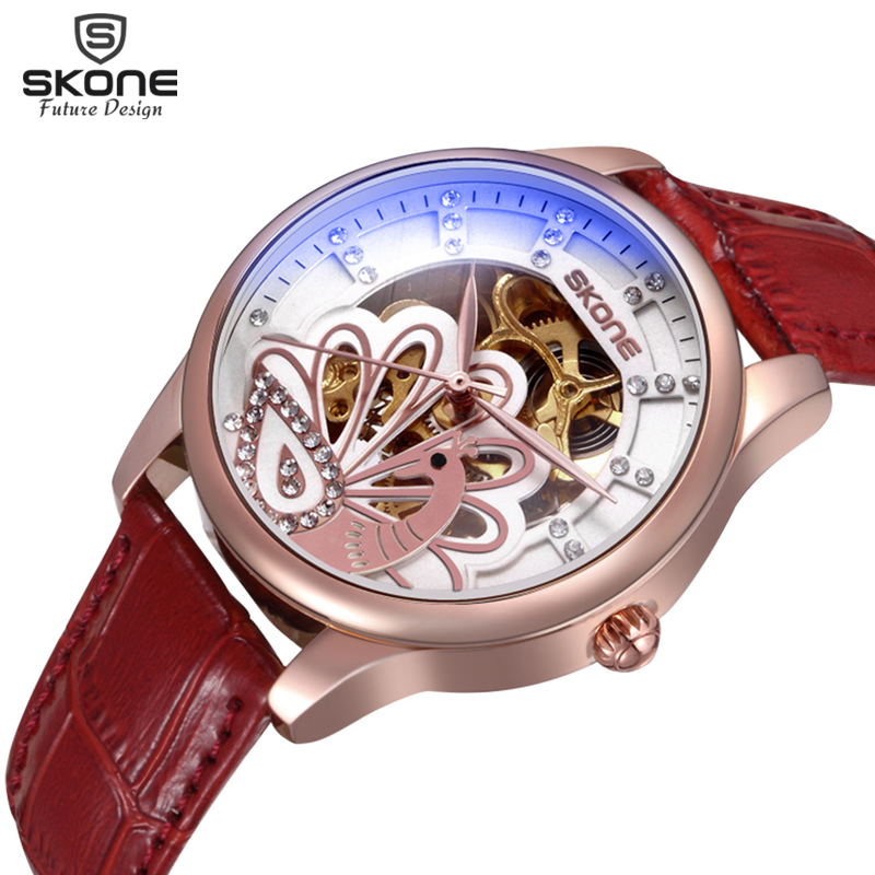 SKONE Women's Automatic SelfWind Mechanical Watch Leather Band Ladies Fashion Casual Relojes mecanicos automaticos mujeres skone