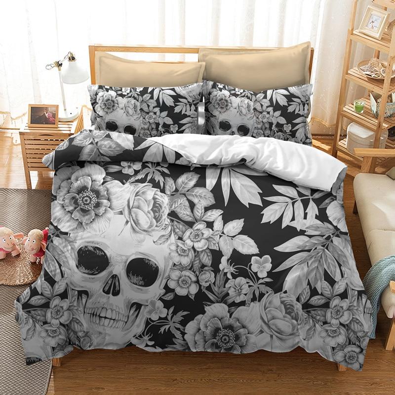 Fanaijia Sugar Skull Bedding Sets King Size 3D Printed Cool Skull Duvet Cover Bed Skull Bedline AU US Size Bed