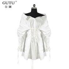[GUTU] Korean Fashion Blouse 2017 Autumn And Winte Solid Color Slash Collar Top Bandage Designer New Pattern Shirt Women YA019