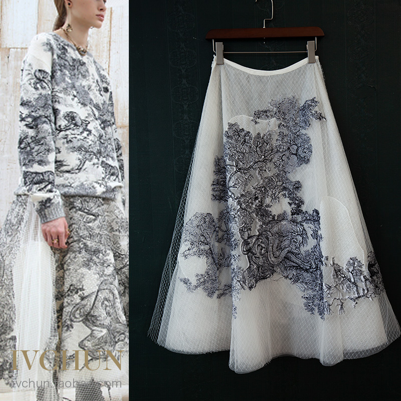 New Ivchun Haute Couture  Gown Lion Animal Embroidery Nets Yarn Silk Lining Skirts