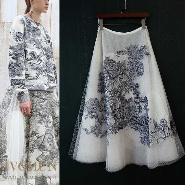 新しいivchunオートクチュールガウンライオン動物刺繍ネット糸シルク裏地スカート