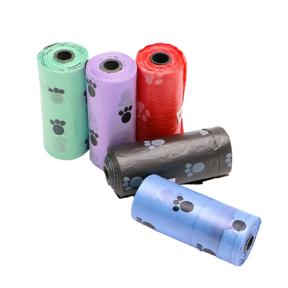 Clean-up Multicolor 1Roll/15PCS Pet Dog Waste Poop Bag Poo Printing Degradable New Drop ship