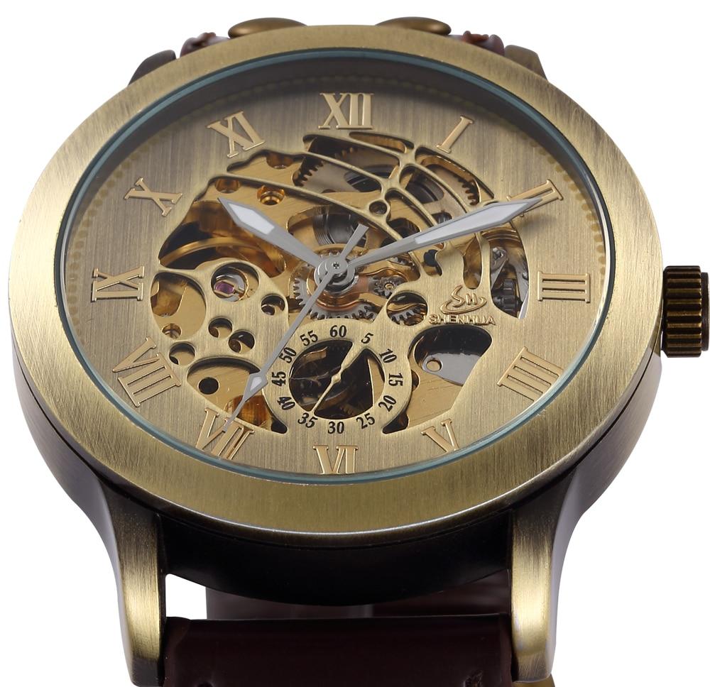 Skeleton Mechanical Watch Automatic Watch Men Steampunk Bronze Transparent Mens Automatic Mechanical Watches Clock montre homme