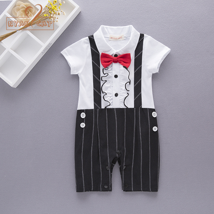 bbe96548ac0 Aliexpress.com   Buy Nyan Cat Baby boy birthday black khaki plaid short  sleeve bow tie romper jumpsuit infant toddler gentlemen wedding party  clothes from ...