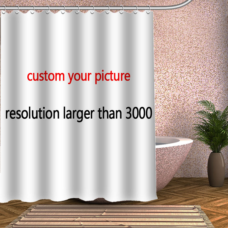 Customize your picture Shower Curtain Eco-friendly Bamboo Polyester Bath Screens Decor S ...