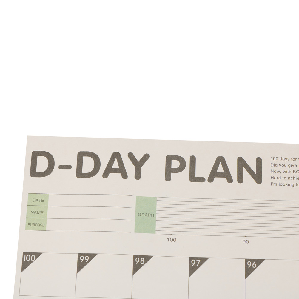 Aliexpress buy 1pc study planning 100 day countdown calendar aliexpress buy 1pc study planning 100 day countdown calendar learning schedule periodic planner table gift office school supplies from reliable urtaz Image collections