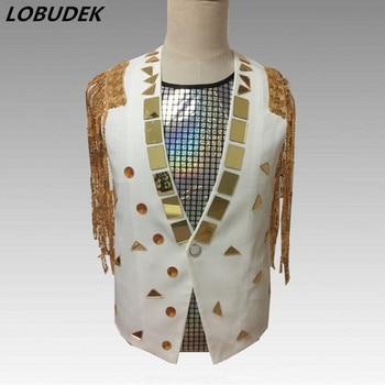 Men Gold Mirrors Tassels Vest Sequins Waistcoats Tide Male DJ Singer Stage Outfit Club Rock Hip Hop Dance Performance Costumes
