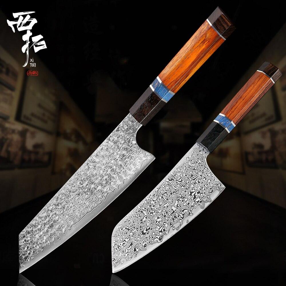 Couteau de Chef XITUO damas couteaux utilitaires japonais Santoku couperet tranchante hacher couteaux à Steak cuisine maison couteau de cuisine