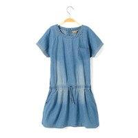 2015 Summer New Girls Dress Kids Denim One Piece Dress Cotton Jeans Singlet Sports Clothes Age