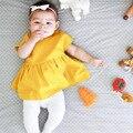 2017 детские детская одежда твердые baby dress лето детская одежда хлопка платья принцесс ins платья о-образным вырезом dress for girl