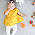 2017 Infant baby clothes solid baby dress summer baby clothing cotton princess dresses ins girls dresses o-neck dress for girl
