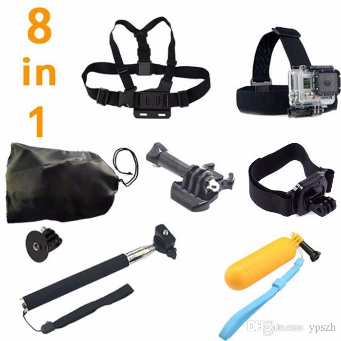 Gopro Accessories Monopod Tripod Bobber Floating 8 in 1 Chest Belt Head Mount Strap set For Go Pro Hero4 3 3+2 SJ5000 Xiaomi yi