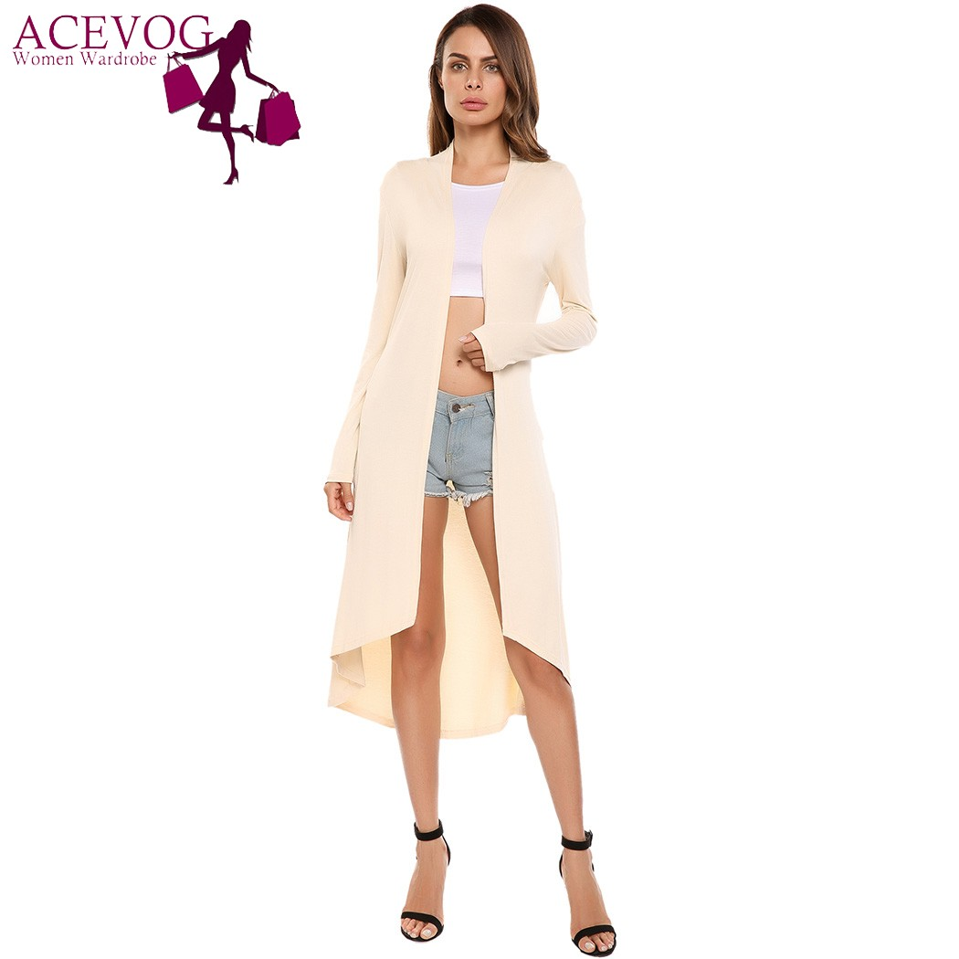 Acevog Fashion Mid-calf Long Women Cardigan 2017 Long Sleeve Open Front Solid Casual Coat High Low Hem Cardigans Casaco Feminino
