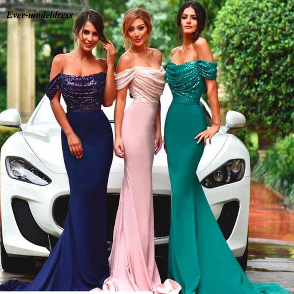 Mermaid   Bridesmaid     Dresses   2019 Off Shoulder Sweep Train Sequined Top Sexy Wedding Guest Party Gowns Vestido De Dama De Honor