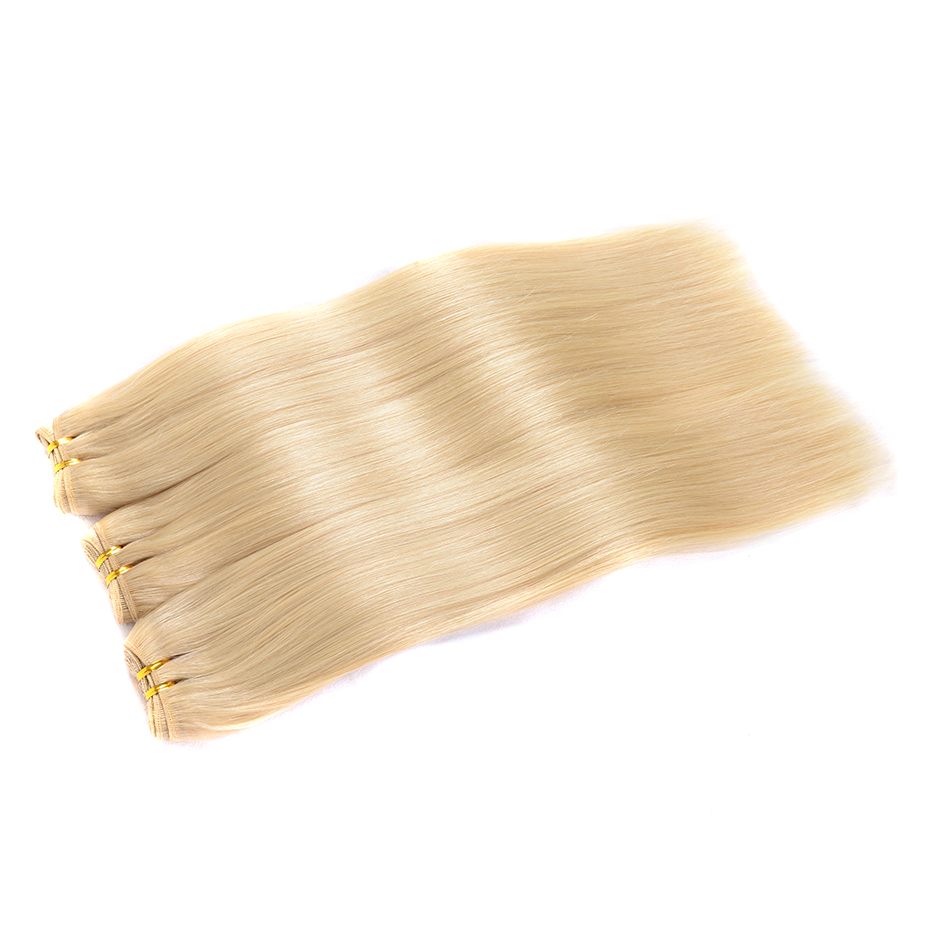 Bleached 613 Blonde Brazilian Straight Hair Weave 3 Bundles Hightlight Human Hair Bundles 12-24 Inches Remy Hair Extensions BOL
