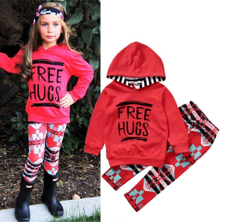 2PCS Set 2017 Spring Toddler Kids Girls Tops Hoodie Pants Legging Outfits Set Girls Clothes