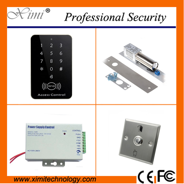 Cheap good quality F007-B RFID card access control reader standalone access control with power supply swich exit button EM lock door access control with led keypad standalone card access control reader with magnetic lock power supply exit button m07 k kit