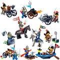 10 unids Serie Castillo Caballeros soldado bloques de construcción juguetes con armas de Guerra caballo carro Compatible Legoes