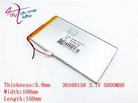 Litro de energia da bateria bateria de polímero de lítio 30100150 3.7 V 5000 MAH V819 3G Tablet PC embutido bateria Recarregável baterias