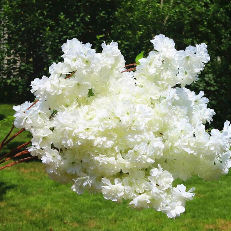 Image 4 - 30p Artificial Waterfall Cherry Blossom Flower Branch White/pink/Champagne Cherry Begonia Sakura Tree Stem with Green Leaf-in Artificial & Dried Flowers from Home & Garden