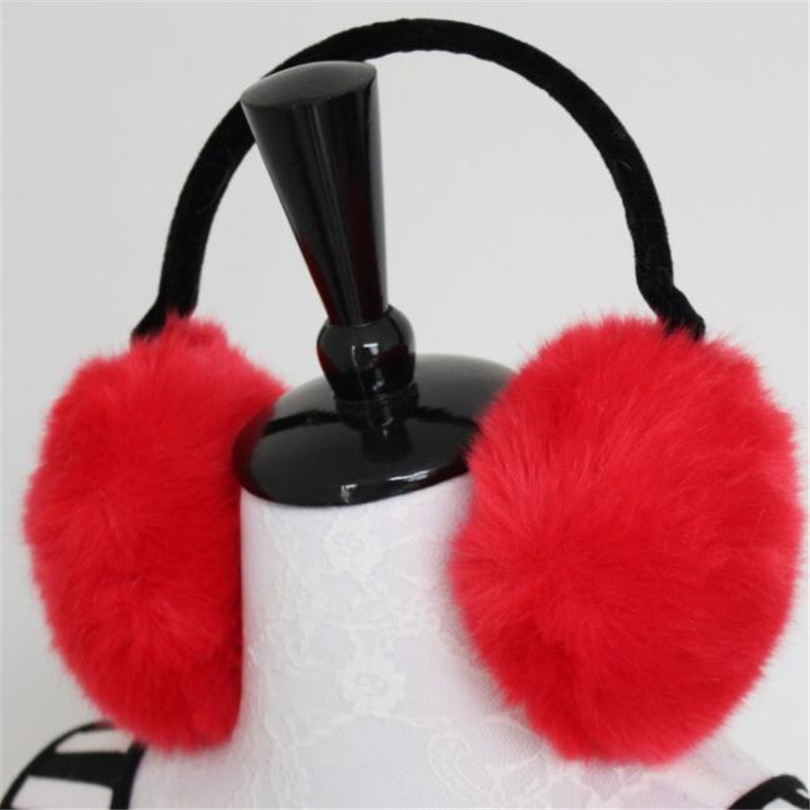 YRRETY 2019 Winter Fashion Women Warm Fur Earmuffs Design High Quality Ear Warmers Rex Fur Ear Muffs Girl's Winter Headphones