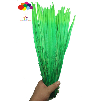 100pcs 100% natural premium pheasant feather tail tip 40-45cm/16-18in Dark green and grass green for Diy costume mask headdress