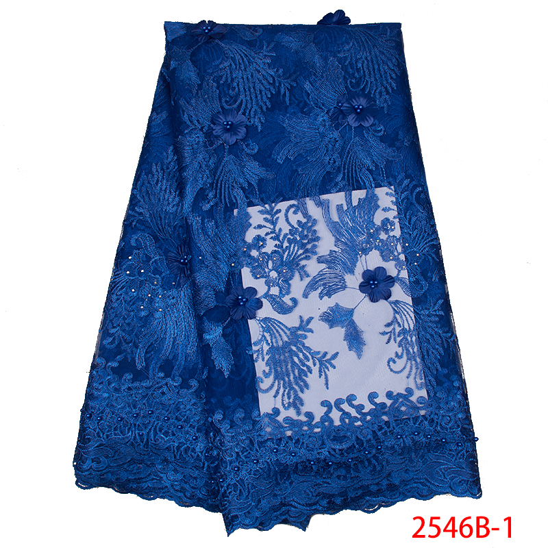 2019 New Arrival French 3D Flower High Quality Net Lace Fabric  Embroidered African Tulle Mesh With Beads For Dresses KS2546B-1