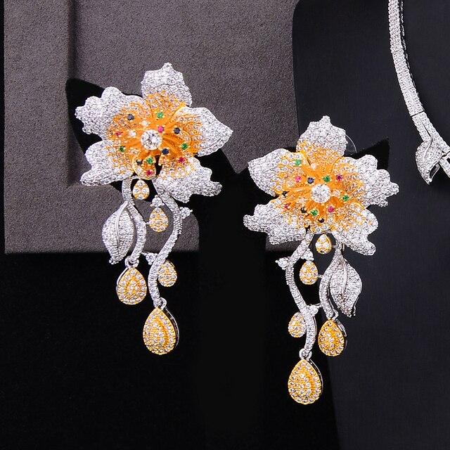 Missvikki luxe 4 pièces Bloom fleurs bracelet boucles doreilles anneau collier ensemble de bijoux pour les femmes mariée mariage Superstar fête bijoux