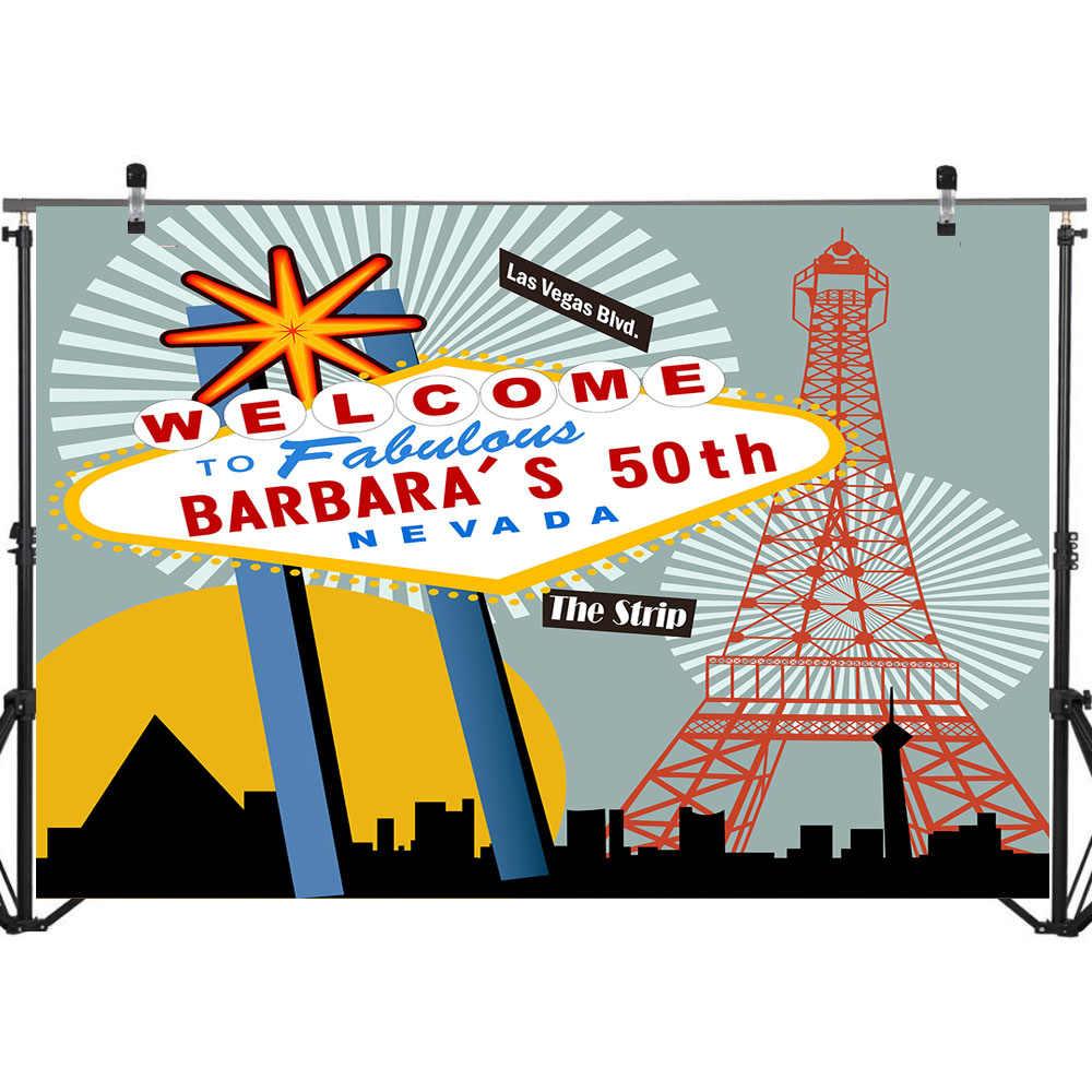 Las Vegas 50th cumpleaños tema Fondo fotografía feliz fiesta Foto fondo de la ciudad de noche foto telón de fondo Accesorios