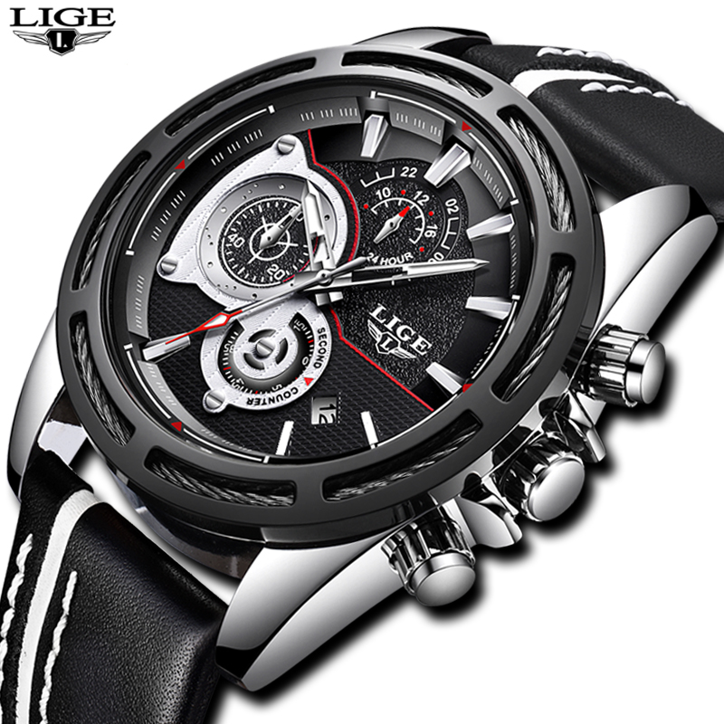 2018 New LIGE Men Watches Top Brand Luxury Business Quartz Watch Men Leather Military Waterproof Sports Watch Relogio Masculino 2018 new lige men watches top brand luxury leather business watch men calendar waterproof sport quartz watch relogio masculino
