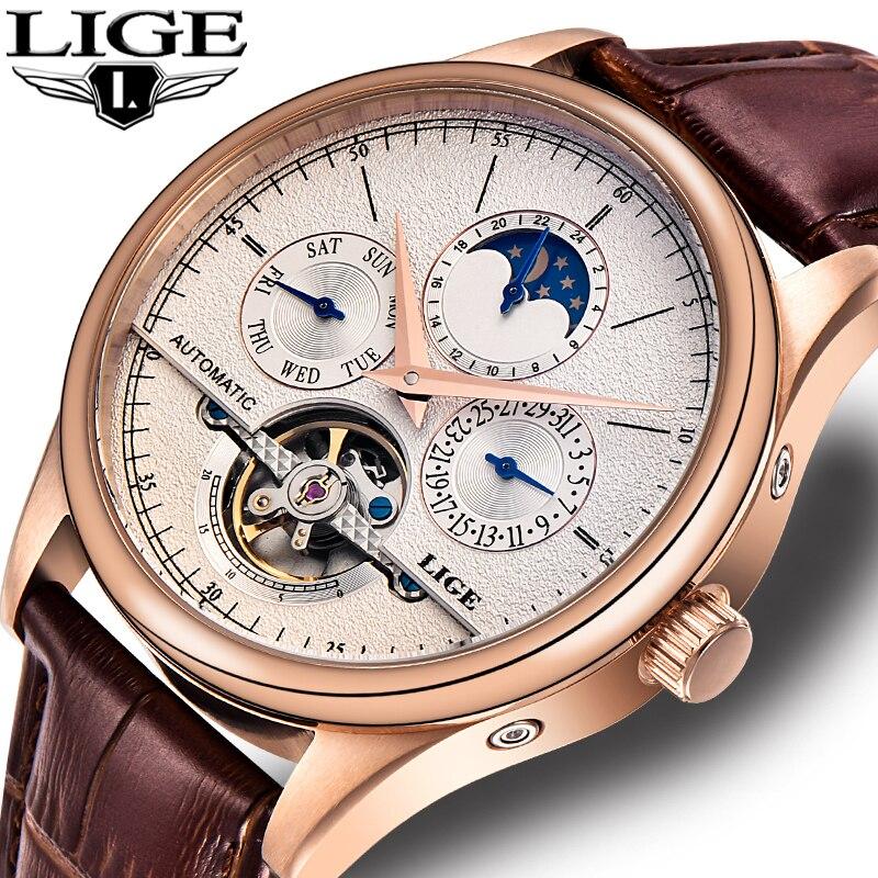 LIGE Marque montre pour homme Automatique montre mécanique tourbillon Sport horloge décontracté en cuir d'affaires montre-bracelet Or relojes hombre