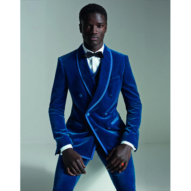 2017 terno masculino Royal Blue Velvet Men Suit Double Breasted Slim Fit 3 Piece Tuxedo Custom Prom Groom mens suits Masculino