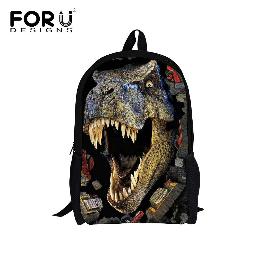 FORUDESIGNS Cool Dinosaur Backpack 3D Djur Skolväskor för - Ryggsäckar