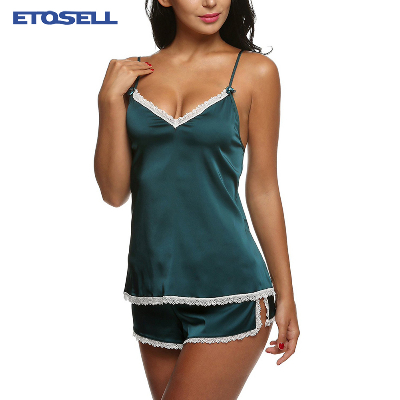 Sexy V-Neck Summer   Pajama     Sets   Women Clothes for Sleepwears Women's Satin   Pajamas   Spaghetti Strap Lace Camis + Shorts   Set   XS-XXL