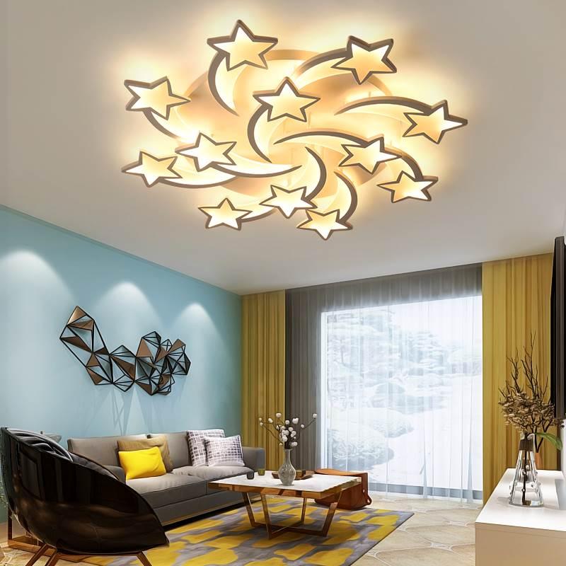 Image 2 - IRALAN modern led chandelier art deco room indoor lamp white star for living room dining room bedroom kid's room kitchen remote-in Chandeliers from Lights & Lighting