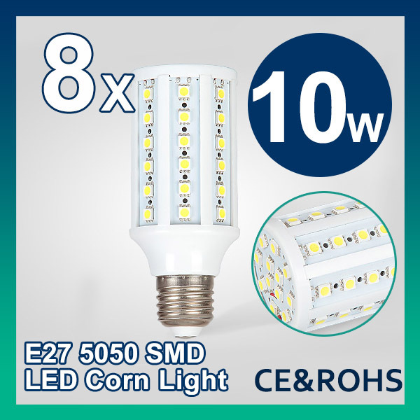 8pcs/lot 10W E27AC 85-265V Warm White/Cool White 960LM 60LEDs SMD Led bulb Corn Light Bulb Energy Saving Led Lamp