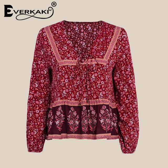 1a4870ed9badae Everkaki Bohemian Floral Print Blouse Women Gypsy With Bell Lace Lantern  Long Sleeve Boho Womens Tops And Blouses 2019 Autumn