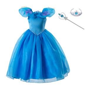 Image 3 - Pettigirl 공주 코스프레 우아한 여자 드레스 신데렐라 드레스 꽃 파티 의상 아이 옷 2020 GD50613 3
