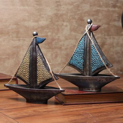 Retro Nordic Style Home Decorations Sailboat Ornaments Bedroom Study Room Cabinet Furnishings Living Table Decoration