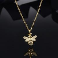 ZOZIRI Cute Wild Animal Gold color Bee Necklace Pendants 925 Sterling silver fashion women Accessories Monaco Jewelry Gift