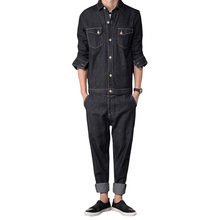 2017 New Spring Autumn Fashion Mens Jumpsuits Overalls Jeans Fashion Work Clothes Cargo Pants Casual Worker
