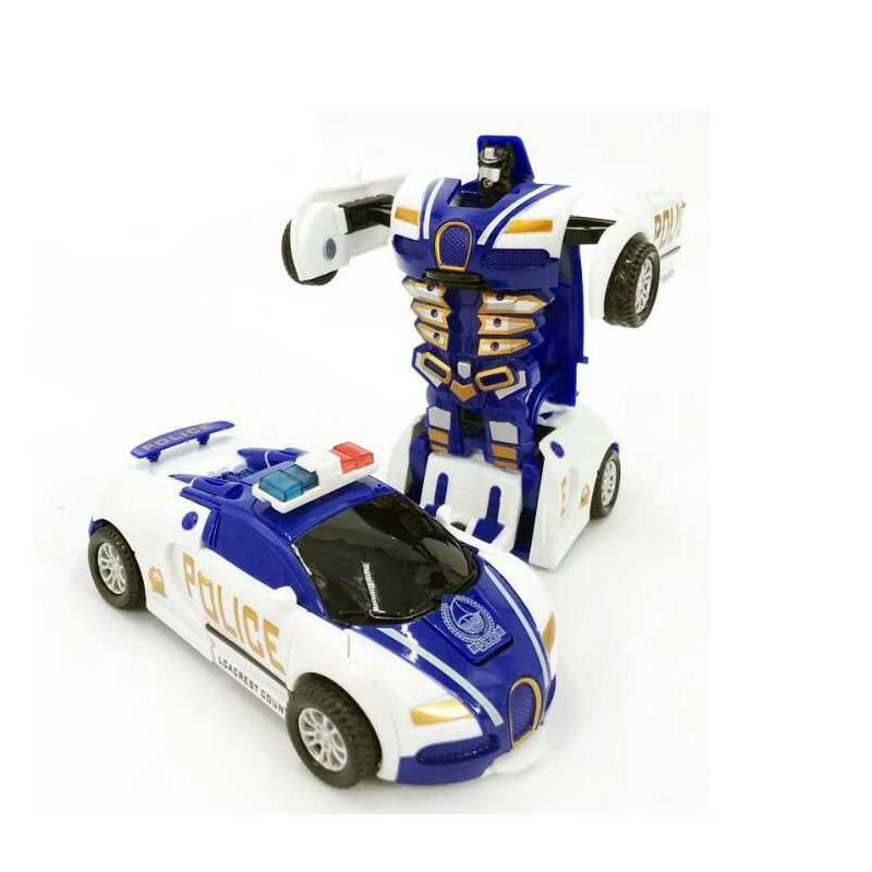 Zhenwei Police Toy Car Pull Back Bump Into Transformation Deformation Robot 2 In 1 Car Model Vehicle Car Toys For Boys