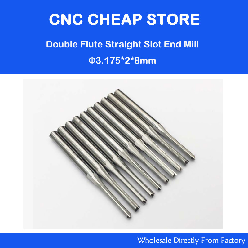 "10ks Double Two Flute Straight Slot CNC Router Bits Wood MDF Frézování 1/8 ""3.175mm * 2 * 8mm"