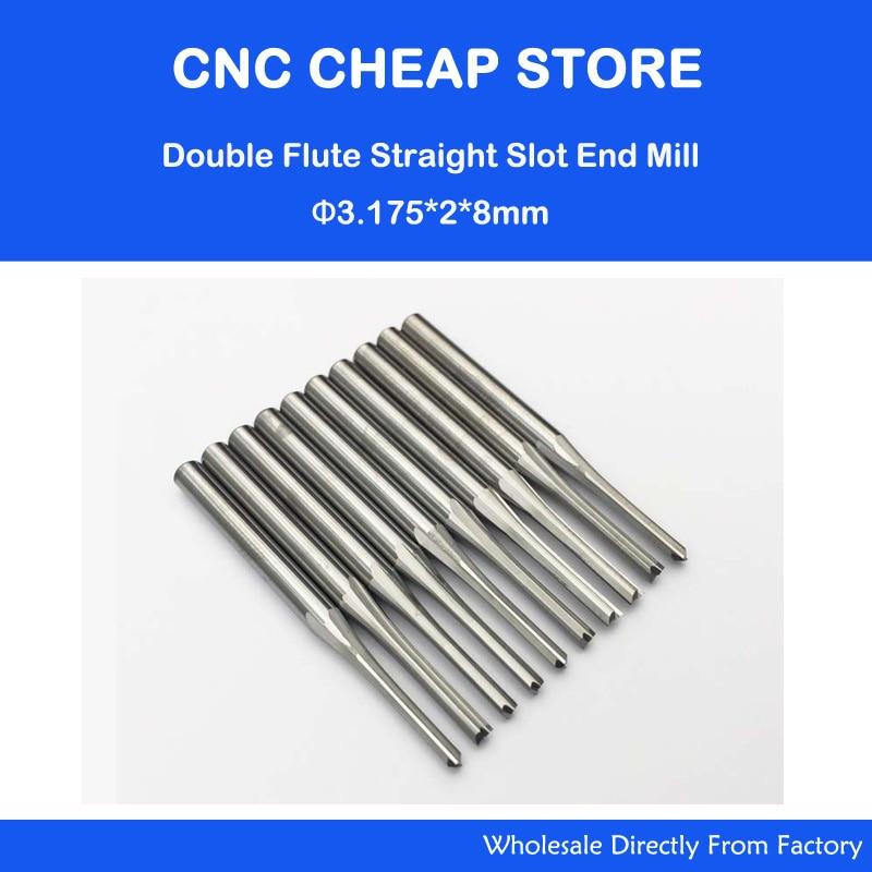 """10 db kettős, két fuvolas, egyenes nyílású CNC útválasztó bit, fa MDF marás 1/8 """"3,175mm * 2 * 8 mm"""