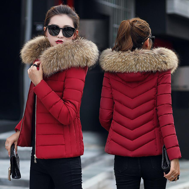 Long sleeve Winter thick cotton Warm jacket women fashion slim windproof hot pink coat