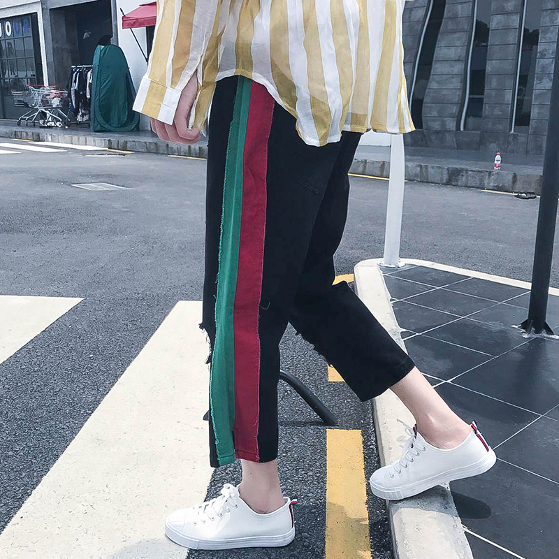 2017 Autumn New Style Hot Sale Mens Black Color Hole Bottom Design Loose Straight Ankle-length Jeans Casual Jogger Pants M-XXL