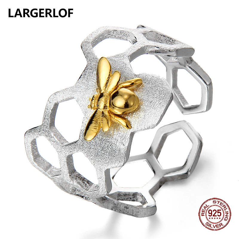 LARGERLOF ANILLO DE PLATA 925 mujeres ajustable cerveza anillo hecho a mano 925 anillos de joyería de plata para las mujeres JZ70107
