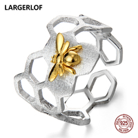 LARGERLOF Ring Silver 925 Women Adjustable Beer Ring Handmade 925 Silver Jewelry Rings For Women JZ70107